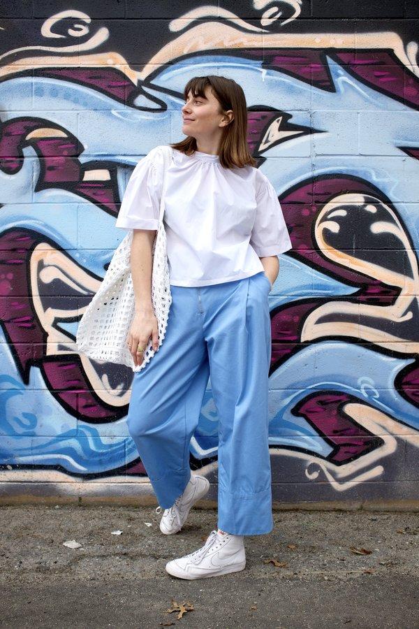 Toit Volant Mock Shirred Short Sleeve - White