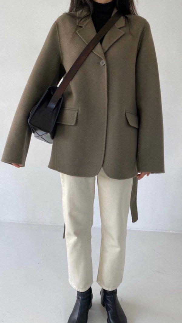 Unisex JOWA. Handmade One Button Coat with Belt