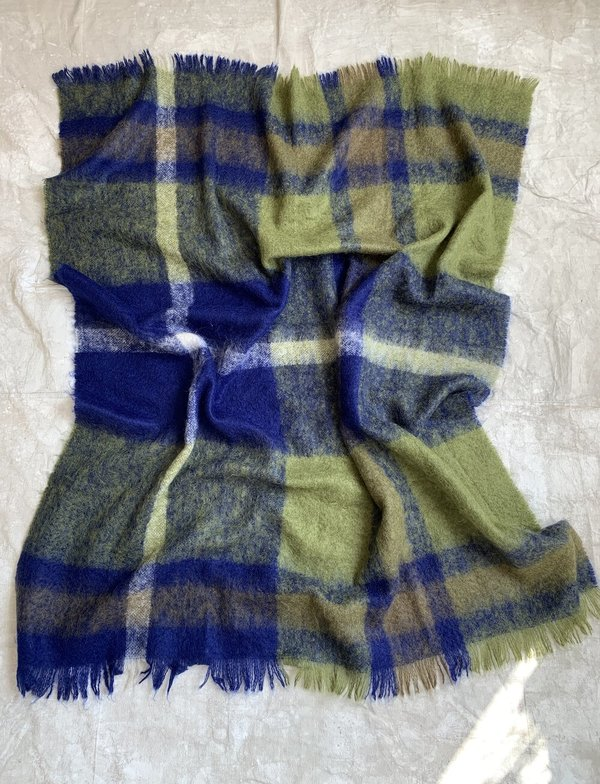 Cuttalossa & Co. Plaid Mohair Blanket - Navy/Green