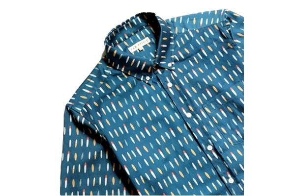 Far Afield Mod Shirt - Blue Surfboard Multi