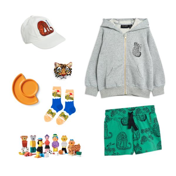 kids mini rodini tiger zip hoodie - grey melange