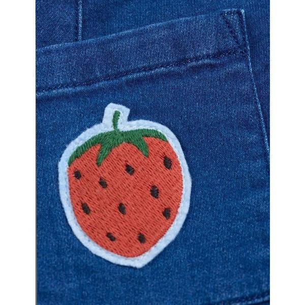 kids mini rodini denim strawberry skirt - blue