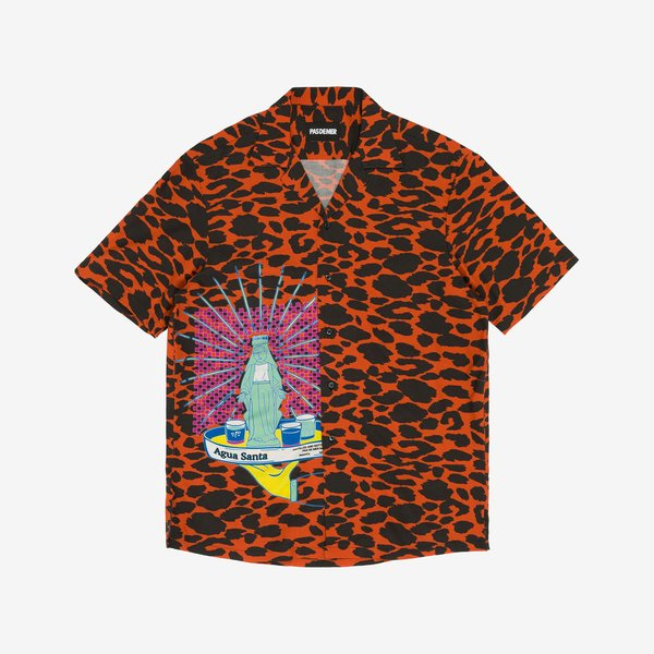 Pas De Mer Agua Santa Shirt - Orange/Black Pattern