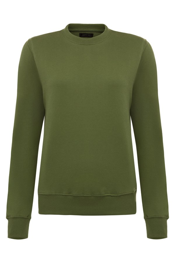 Parentezi Crew Neck Sweater With Removable Shoulder Pad - Moss