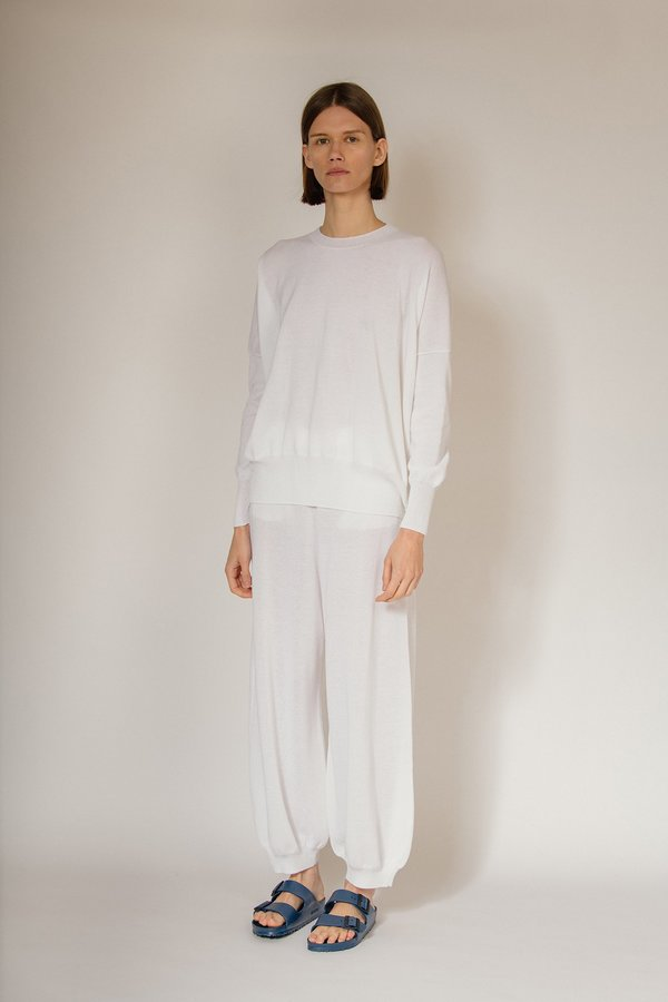 Oyuna Kriel Knitted Textured Cotton Pullover - Lily White