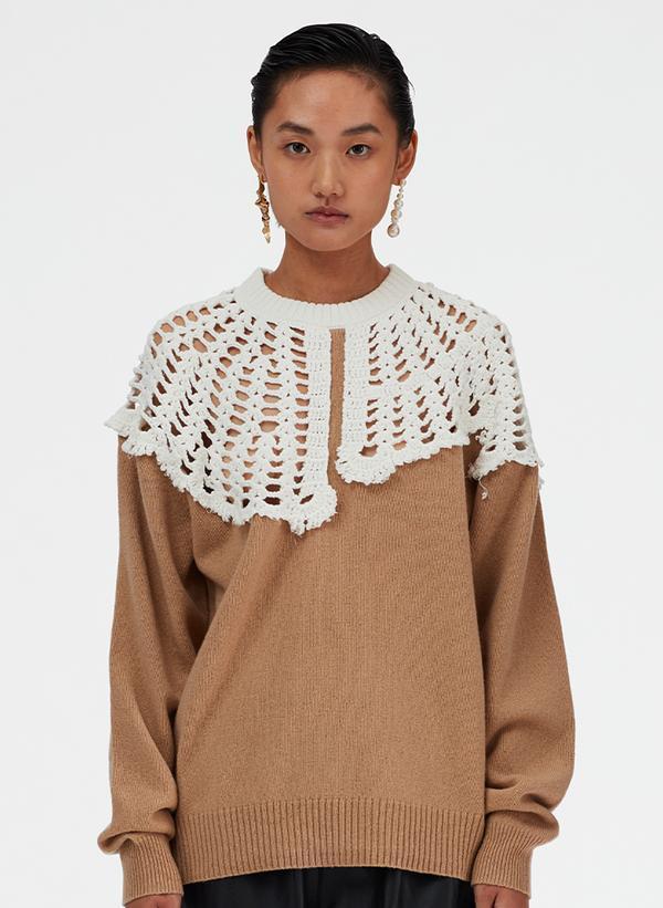 Tibi Lana Crochet Collar Pullover - Sand/White