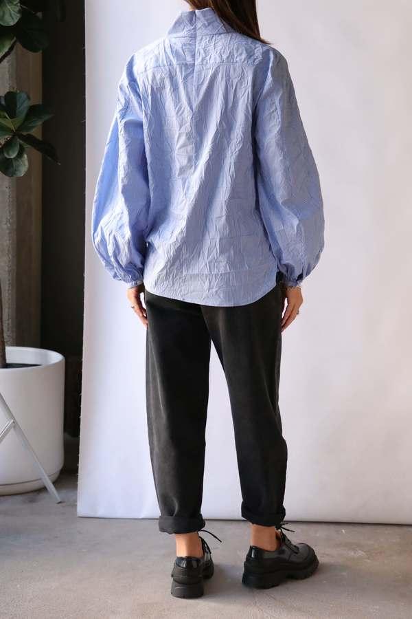 Rachel Comey Noni Top - blue multi-crinkle stripe