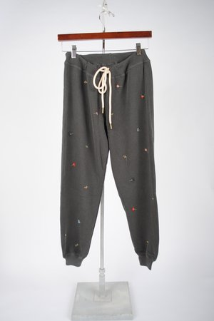The Cropped Sweatpant - Washed Black with Tossed Floral Embroidery