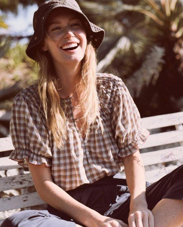 The Great. The Hazel Top - Meadow Plaid