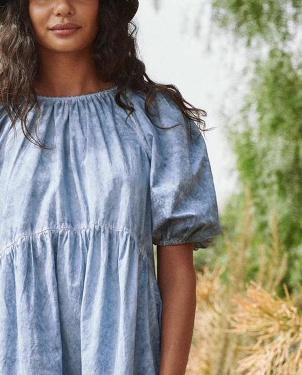 The Great. The Park Dress - Indigo Fog Wash