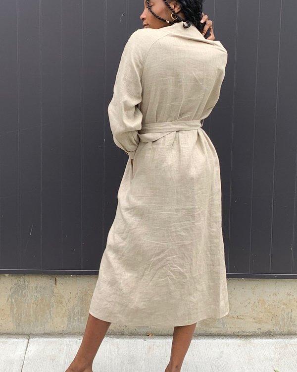 Vintage Linen Trench Coat - Oat