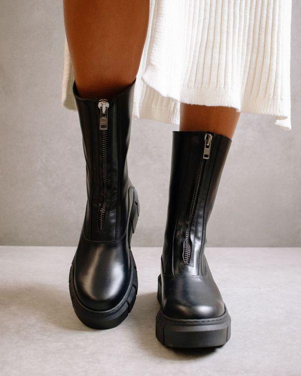 Alohas Peak Zipper Boots - Black