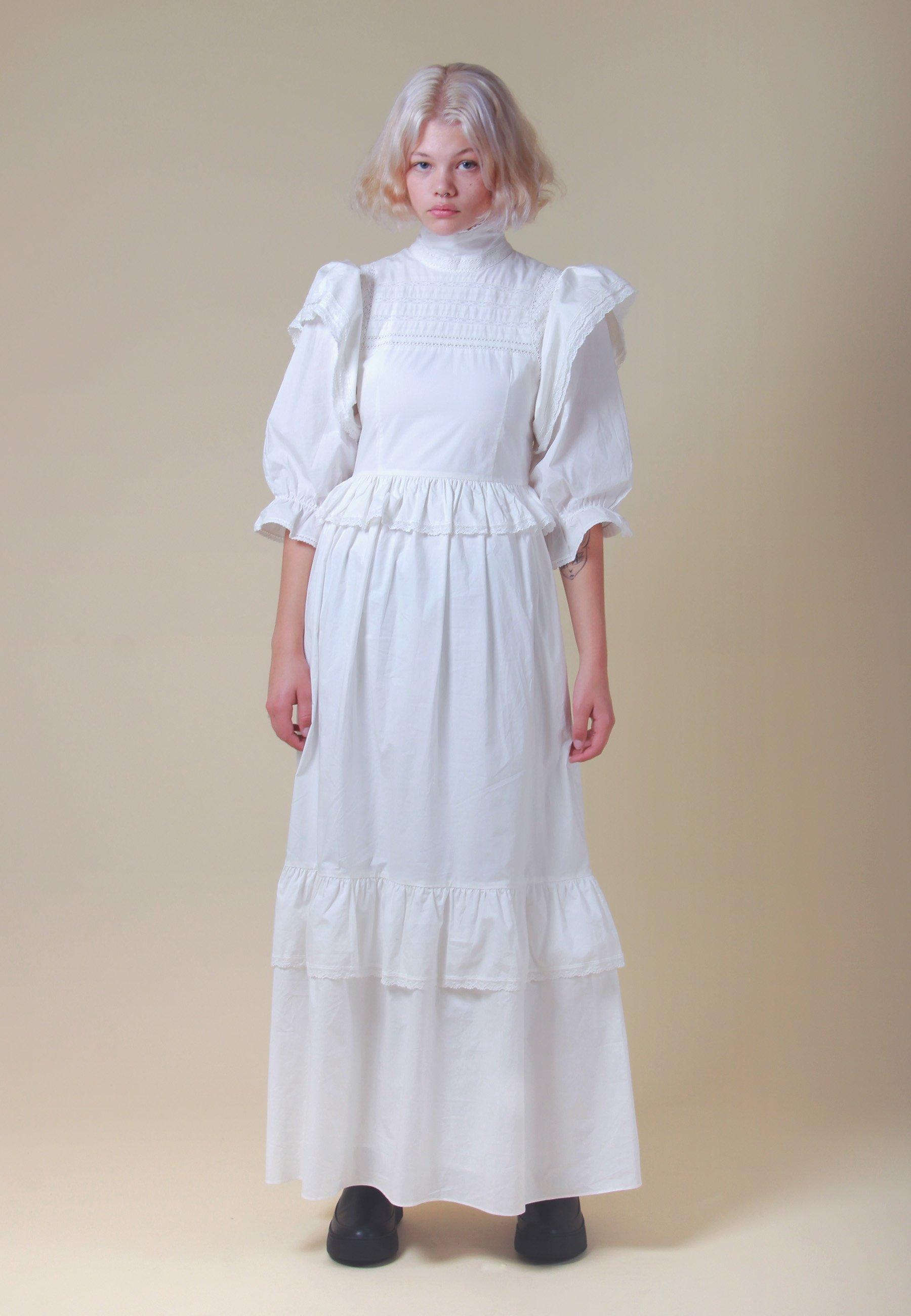 1900s Edwardian Dresses, 1910s Dresses Meadows Bellflower Dress - white $378.00 AT vintagedancer.com