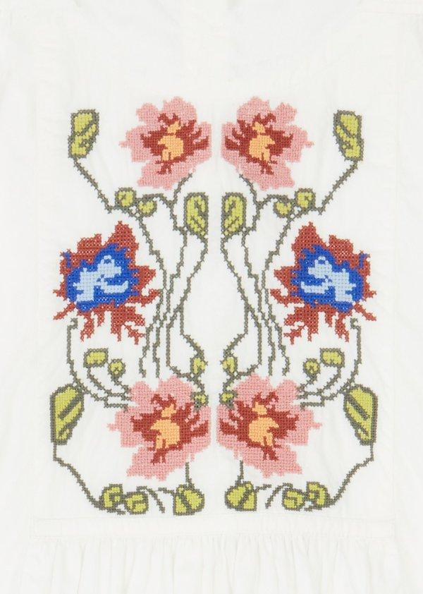 Kids Caramel Coral Cotton Dress - White