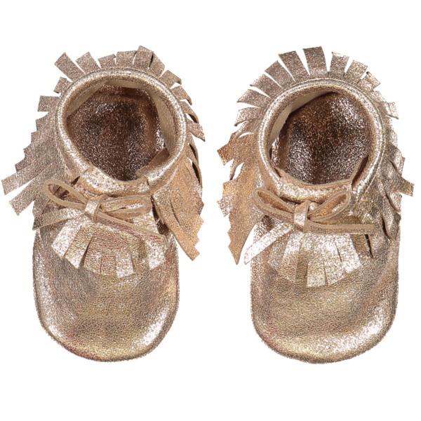 kids louis louise leather baby moccasins - gold