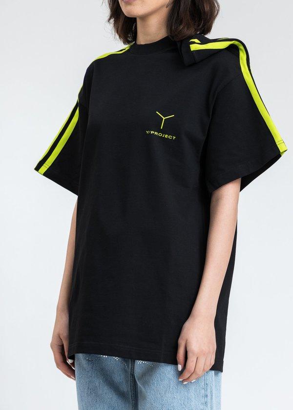 Y/project Y Logo Clipped Shoulder T-Shirt - Black/Green