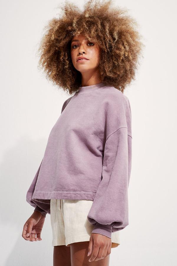 Back Beat Co.: Recycled Cotton Puff Sleeve Sweatshirt - Mushroom