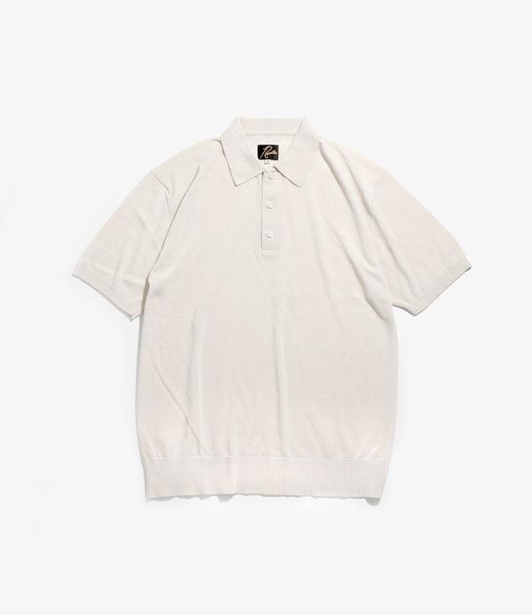Needles Short Sleeve Polo Sweater - Creme