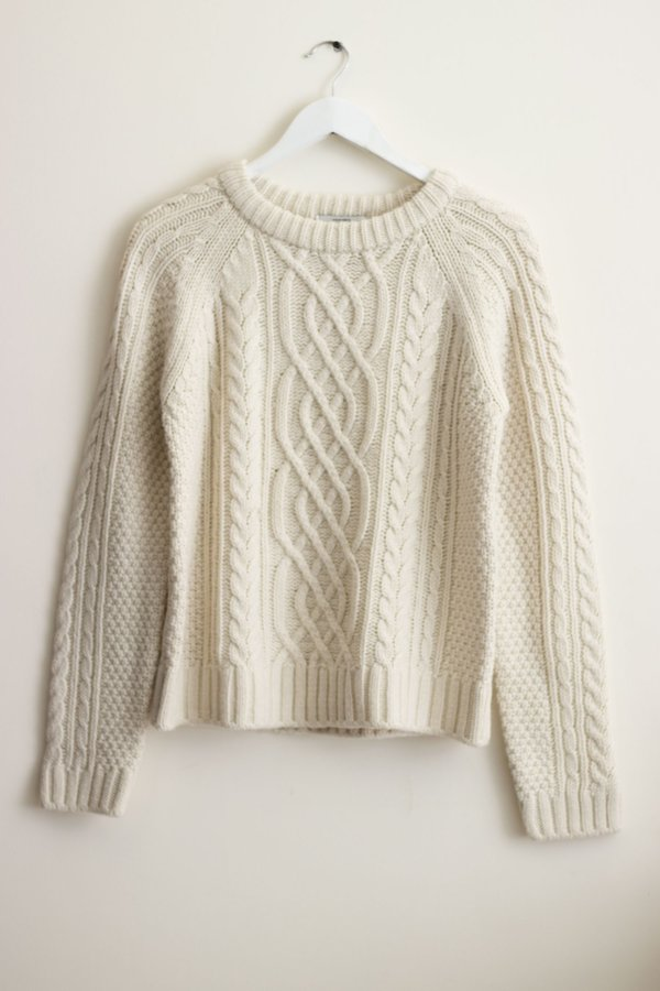 W A N T S Chunky Cable Knit Sweater - Bone
