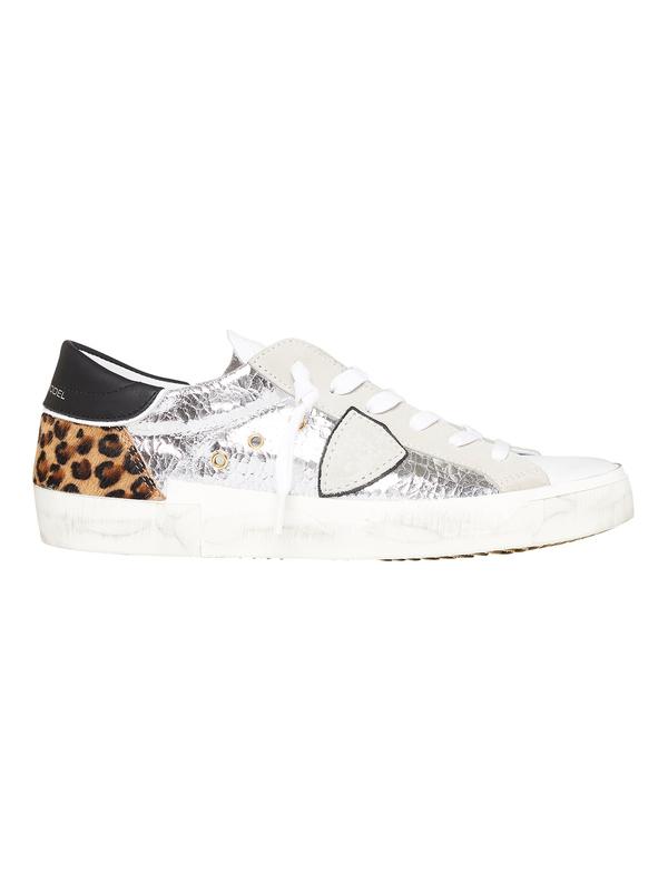 Philippe ModelPrsx Low Sneaker - Mix Metal Leo Argent Beige