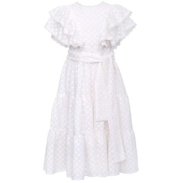 Kids Paade Mode Milan  Embroidered Cotton Maxi Dress - White