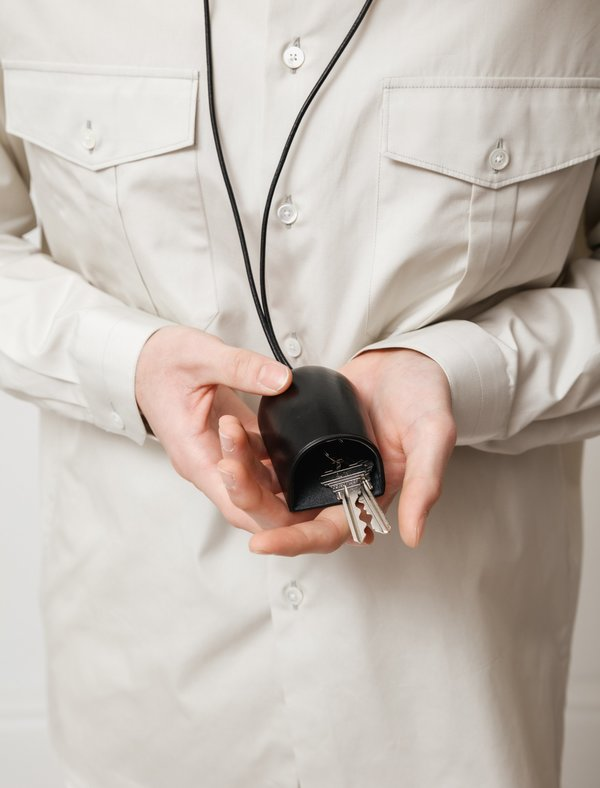 Lemaire Molded Leather Key Holder - Black