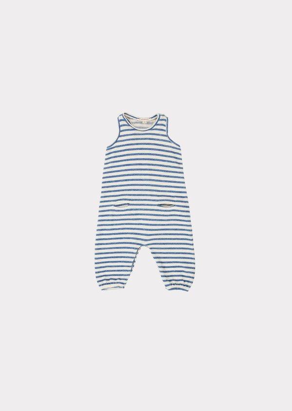 kids Caramel Swordfish Baby Romper - Blue/Ivory Stripe
