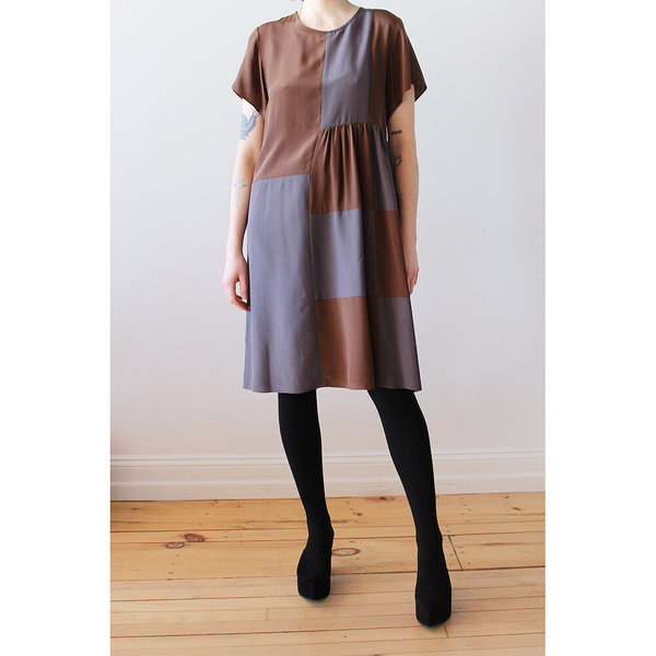Correll Correll Checky Dress - Brown/Grey