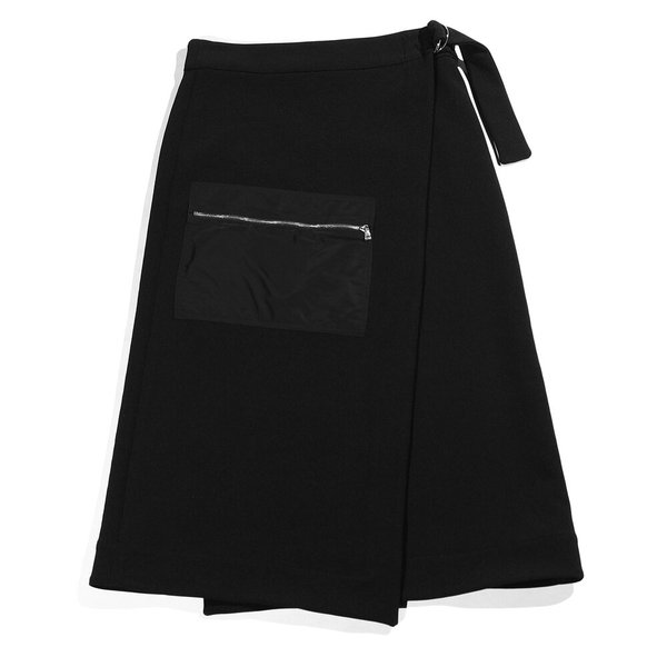 Nomia Zip Pocket Wrap Skirt - Black