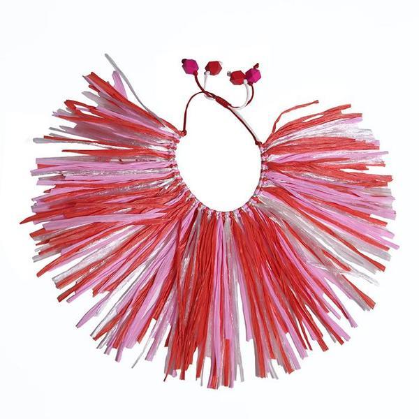 kids Tia Cibani Kids Himba Raffia Collar Geranium jewelry - Red