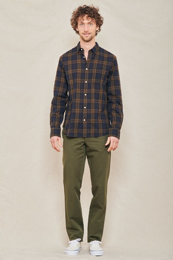 Officine Generale Lipp Slim-Fit Checked Crinkled Cotton-Blend Shirt - BLACK/KHAKI