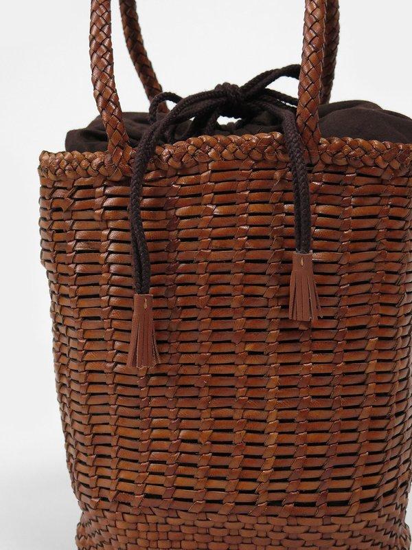 dragon diffusion single bali round bucket bag - dark tan