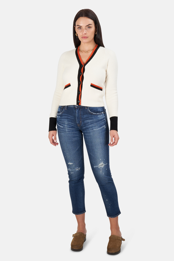 Re/Done 60s Slim Cardigan Sweater - Ivory