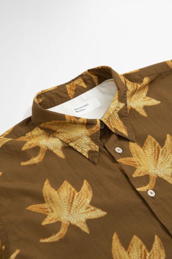 Universal Works Big pocket lotus print shirt - brown