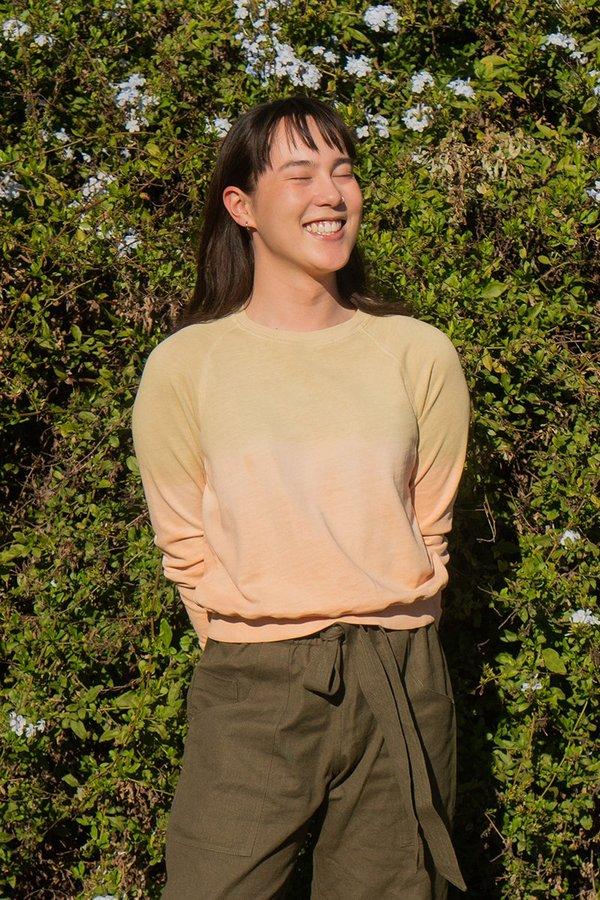back beat rags Hemp Crop Sweatshirt - Natural Dye