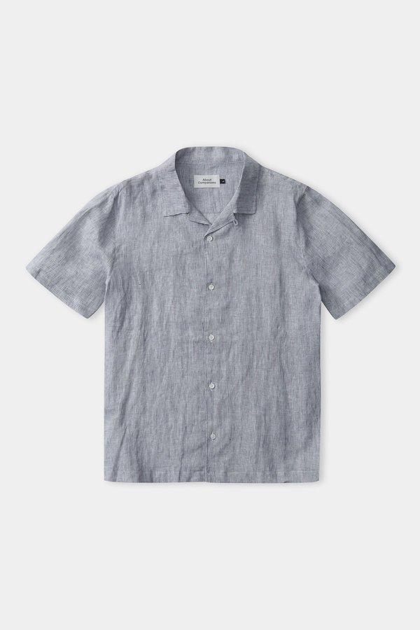 Frisur Kuno Linen Shortsleeve Shirt - Striped Navy