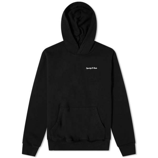 Sporty & Rich Classic Logo Hoodie - Black