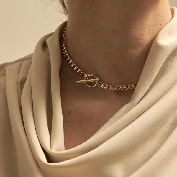 Maslo Jewelry Curb Chain Toggle Necklace - 14K Gold Plated