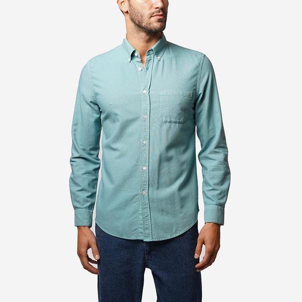 Portuguese Flannel Belavista Lightweight Oxford Long-Sleeve Shirt - Verdete Blue