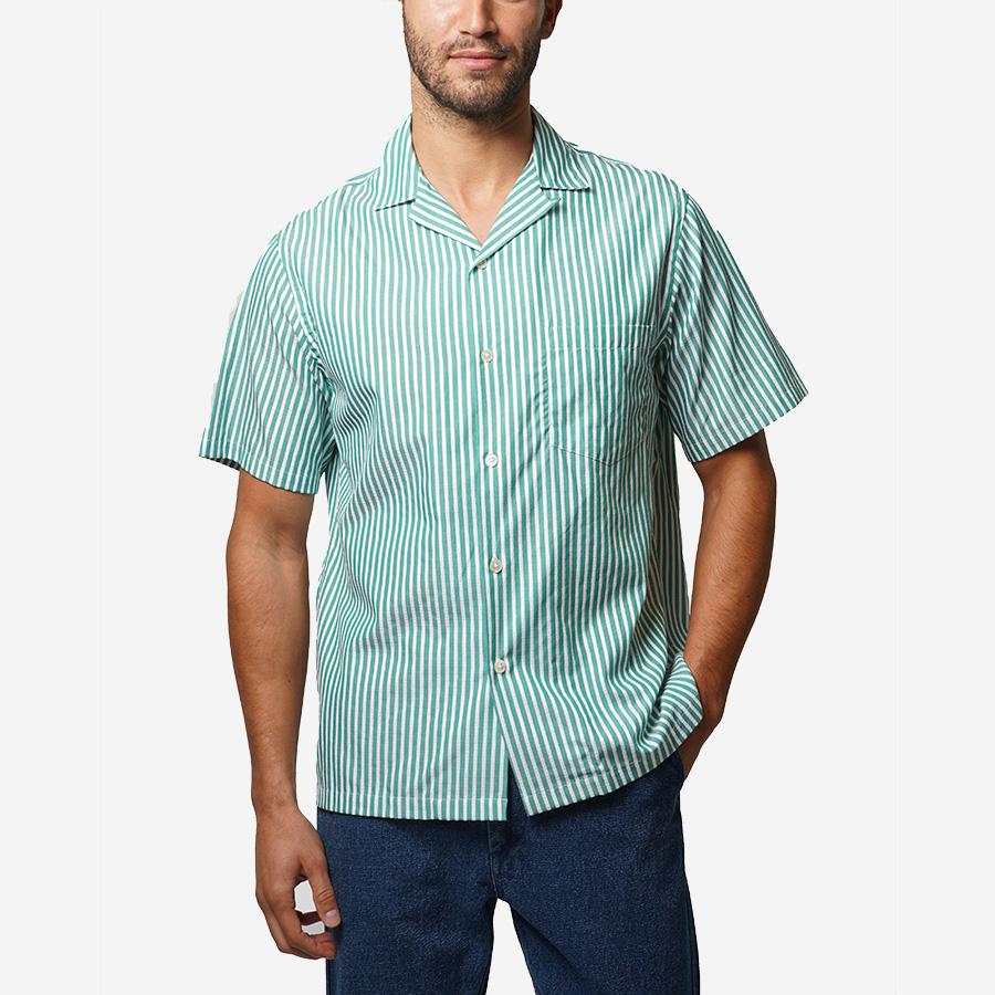 1950s Mens Shirts | Retro Bowling Shirts, Vintage Hawaiian Shirts Portuguese Flannel Calipso Short-Sleeve Vacation Shirt - Green Stripe $128.00 AT vintagedancer.com