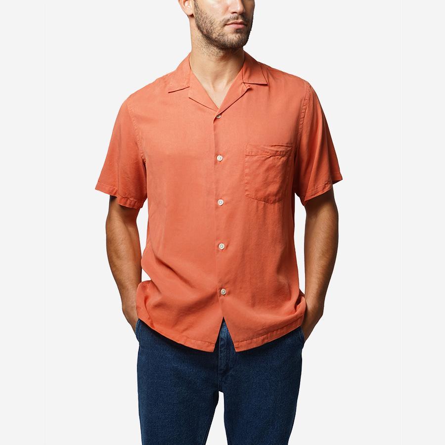 1950s Mens Shirts | Retro Bowling Shirts, Vintage Hawaiian Shirts Portuguese Flannel Dogtown Short-Sleeve Vacation Shirt - Pink Pastel $128.00 AT vintagedancer.com