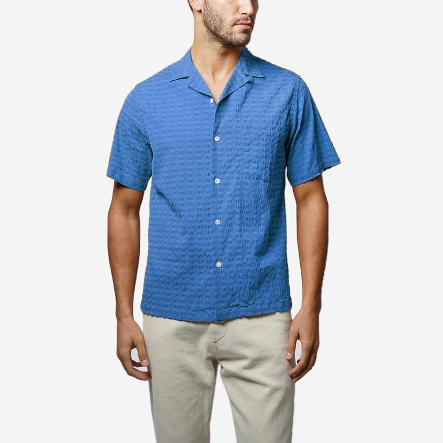 1950s Mens Shirts | Retro Bowling Shirts, Vintage Hawaiian Shirts Portuguese Flannel Square Short-Sleeve Vacation Shirt - Blue Seersucker $128.00 AT vintagedancer.com