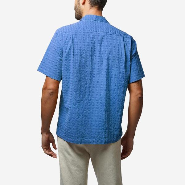 Portuguese Flannel Square Short-Sleeve Vacation Shirt - Blue Seersucker