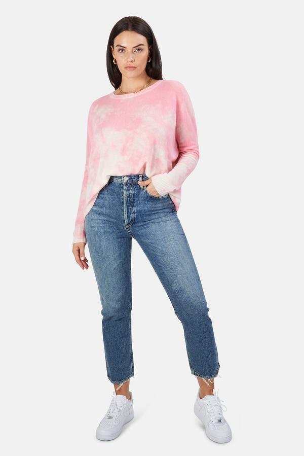 Minnie Rose Bleach Print Boyfriend Crop Sweater - Pink Sand