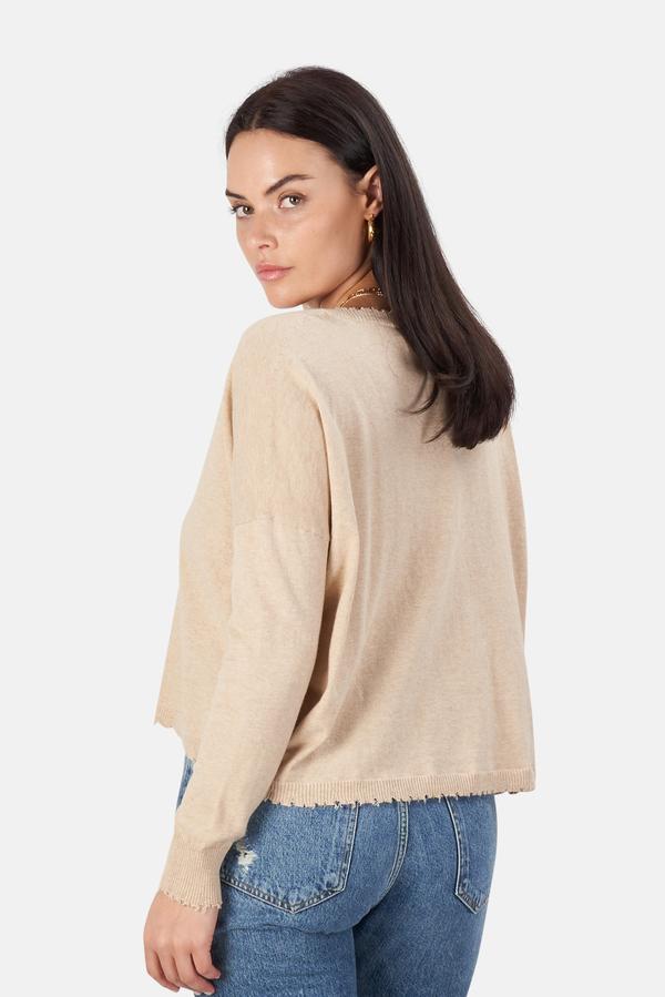 Minnie Rose Cotton/Cashmere Crop Sweater - Linen