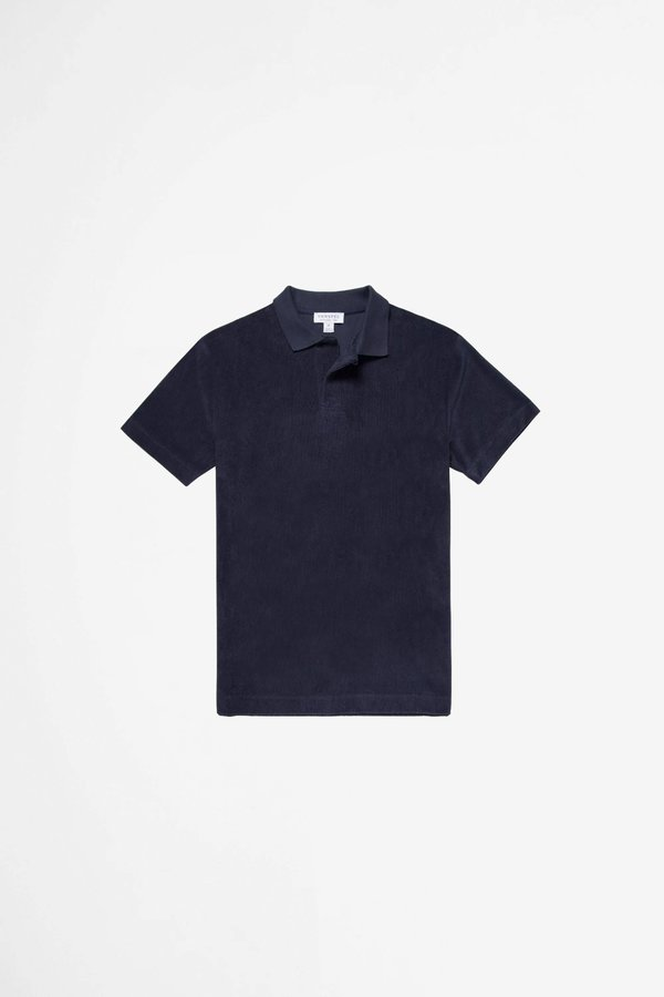 Sunspel Organic Cotton Towelling polo - navy