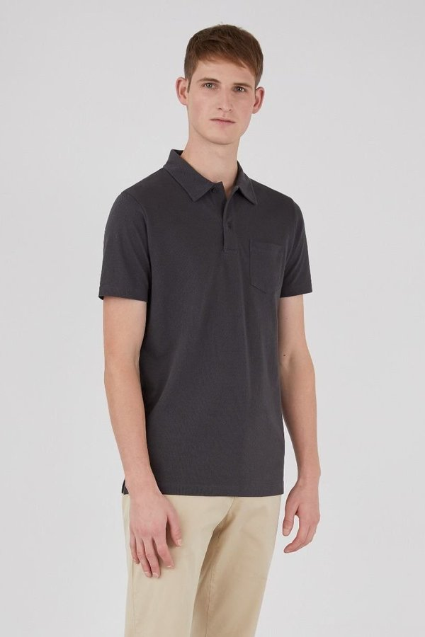 Sunspel Riviera polo shirt top - charcoal