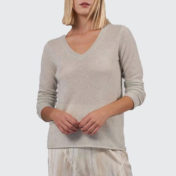 ATM Cashmere V-neck Sweater - VAPOR