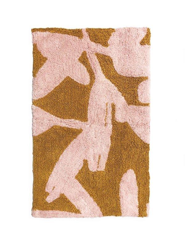 Mosey Me Abstract Bath Mat - Pink/Mustard