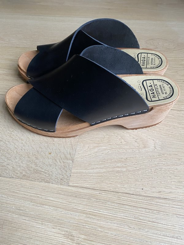 Tidy Street General Store Swedish Open Toe Clogs - Black